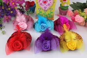 Joyería de moda para el cabello Niños Bebé Niña Mini Sombrero Pinzas para el cabello Pluma Rosa Top Cap Encaje fascinator Accesorio de disfraz tocado Plumed Hat 7CM