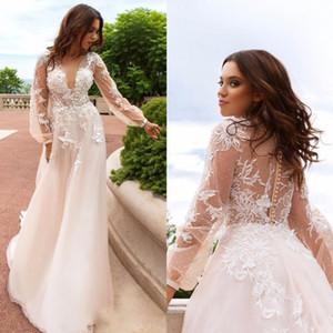 Spitze Floral Vintage Strand Brautkleider 2020 Tiefe V-Ausschnitt Lange Ärmel Perlen Brautkleider A-Line Sexy Brautkleider