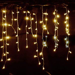 220V Led Christmas Tree Led Light Ornament 4m Multicolor Icicle Curtain Party Wedding Decoration Lights for Home 2017 Eu Plug