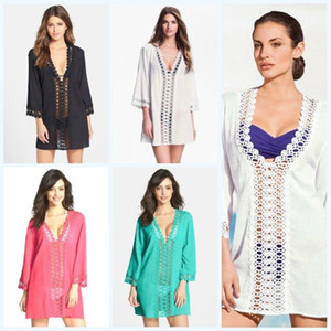 Bikini Cover Ups Hollow Out Fashion Camicetta Donna Deep V-Neck Wrap Sexy Beach Dress Pizzo Floral Beachwear Crochet Poncho Playsuits D497