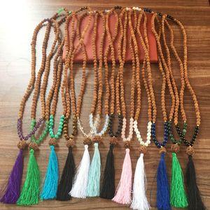 Heart Chakra Necklace White Quartz 108 Mala Beads Yoga Meditation Rudraksha Prayer Beads Bohemian Bodhi necklaces Tassel Necklace