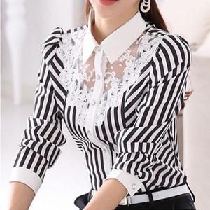 Uzun Kollu Dantel Çizgili Bluz Kadınlar Tops Bahar Sonbahar Turn-Aşağı Yaka OL Bluzlar Resmi Kadın gömlek Resmi Bluz