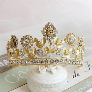 Euramerican barroco Vintage Gold Wedding nupcial Rhinestone corona diadema Tiara Hairband Head Jewelry Headpiece accesorios para el cabello Prom venta por menor