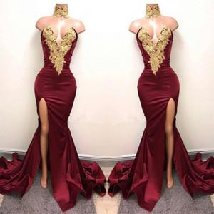 2019 Sexy Burgund Stehkragen Mermaid Prom Dresses Gold Spitze Appliques Side Split Abendkleider Günstige Party Wear BA5998