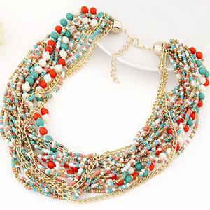 Мода старинные бусины цепи океан стиль бусины колье ожерелье многослойные бисером колье ожерелье заявление ювелирные изделия для женщин 2017