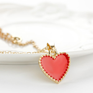 Kalp Kolye Kırmızı Aşk Kolye Kolye Altın Gümüş Kadınlar Hediye Için Parti Elbise Kolye Takı