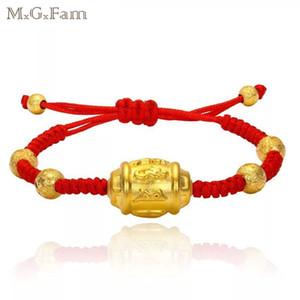 (251b) Moda 24 k banhado a ouro Handmade Weave Red Corda Pulseira Jóias Buda Seis Palavras OM MANI PADME HUM
