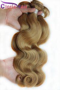 Honey Blonde Bundles Virgin cheveux brésiliens # 27 bresilien vague de corps Cheveux ondulés Tissages Cheap Strawberry Blonde Hair Extensions 3 pcs