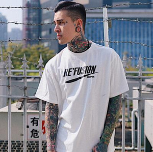 Summer Men Cool Hiphop Street Print Cotton T-shirts Casual Letter Short Sleeve Simple Fashion Tees Loose Bottoming Shirt
