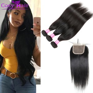 Brazilian Virgin Hair Weave Bundles with Top Lace Weaves Closure 3 bundles and closure Remy Human Hair Extensions Wholesale Just for you