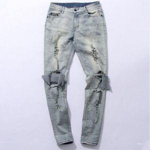 Wholesale- myweibo Stiefel Jeans Herren Stiefel Demin Distresse Knie Loch Stretch zerrissene Jeans-Männer Heißer Verkauf