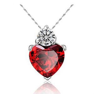 NUOVA collana di cristallo austriaca di moda femminile cristalli di granato a forma di cuore placcati argento di alta qualità di gioielli in zircone per donna a957