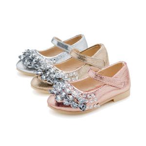 Causal elegante bebê menina sapatos arco de cristal princesa sapatos de couro para 3-11yrs meninas crianças crianças sapatos de festa de dança quente