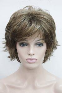 شحن مجاني سوبر بني فاتح مع تسليط الضوء على شقراء يبرز الوجه المتموج الباروكة الاصطناعية قصيرة سيدة
