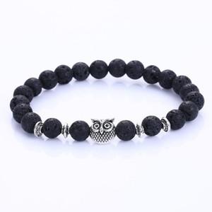 Neue eule natürlichen vulkan stein perlen armband armreif für männer frauen stretch yoga lava stein schmuck mode-accessoires für liebhaber
