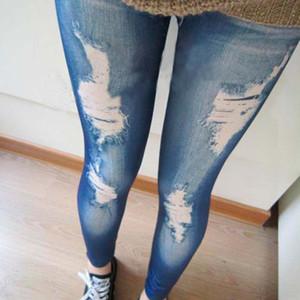 Atacado-2020 novo estilo de moda à moda na moda do punk retro Mulheres Meninas Pants Magro Flange Buraco Wash Jean Denim Ripped Leggings mais novo