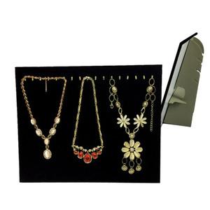Nouveau Noir Velours Collier Bracelet Chaîne Présentoir Chevalet 17 Crochets Pendentif Organisateur Stockage Présentoir 37 * 30 cm