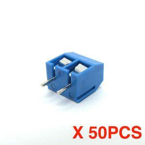 Envío libre (50 piezas / porción) KF301-2P KF301-5.0-2P Blue Connect Terminal Strainght Pin PCB Screw Terminal Block Connector