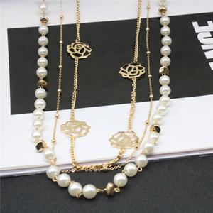Женщины Ожерелье Имитированный Жемчуг Chian Цветок Ожерелья Сплава Длинная Цепь Для Женщин Платье Аксессуары Подарок Ювелирных Изделий