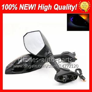 Universal Motocicleta LED Turn Signal Espelhos virar luz Espelho de Carbono Preta LED luz de giro para kawasaki zx6x zx6c zx7x zx7r zx10r zx10r ex250