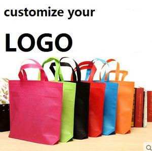 حمل الحقائب غير المنسوجة تخصيص أكياس التسوق print logo الملابس Eco Bag gifts أكياس الدعاية