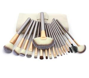 Champagne Gold Makeup Щетка набор 12/18 PCS Soft Synthetic Professional Cosmetic Makeup Foundation Powder Blush Щетки для глаз