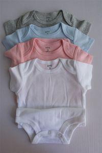 Best Baby Rampers Suit Summer Infantil Triángulo Romper Onesies 100% algodón Bebés de manga corta Ropa Boy Girl Pure White Tallos completos