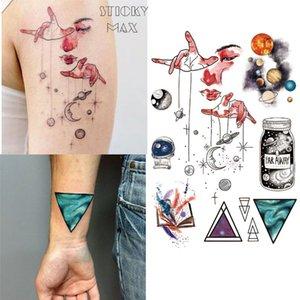 W15 Spazio esterno Universo Temporaneo Tatuaggio Temporaneo con spazio geometrico, Planet, Astronauta Pattern Body Paint Tatuaggi
