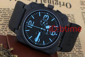 Mecanismo automático dos homens novos 6 Mão Aço Inoxidável Relógio Bell Aviation Edição Limitada Mergulho Prata De Borracha Preta Azul Relógios free shopping