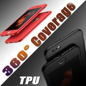 360 Graus de Proteção Integral Corpo Cobertura macia Tela TPU caso capa para o iPhone 7 Plus 6S 6S Limpar vidro temperado Protector DHL frete grátis