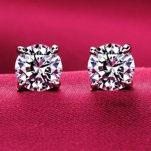 925 Sterling Silber für immer Rose Clear CZ Runde Kreis Ohrstecker für Frauen Modeschmuck