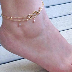 8 Word Double Pearl Anklet Lady Metal Anklet Legs Jewelry