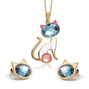 Colar + Brincos Jóias Define Cat Cristal Conjunto de Jóias para aço inoxidável Mulheres Moda Pingentes de Ouro Atacado