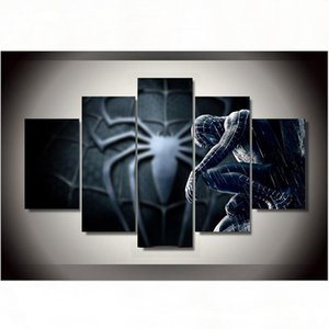 5 Pieces Spider-Man HD Print Abstract Figures Oil Painting Modern Fashion Home Wall Decoration No Framed