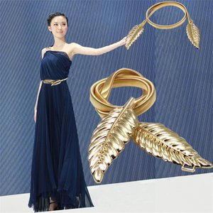 Hot Women Belt Leaf Design Clasp Front Stretch Metal Waist Belt Skinny Elastic Ceinture Slim Elegant Sexy Solid Dress Belt Wholesale