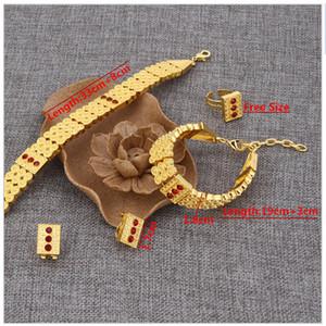 Neue Ankunft Äthiopischer Schmuck 24 Karat Reales Gold GF Hals Halsreifen Halskette Armband Ohrring Sets Eritrea Habesha Afrika Frauen Schwere Dicke