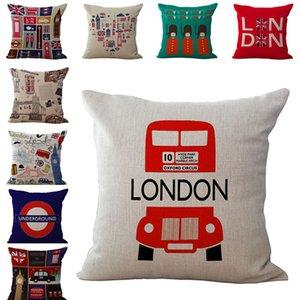 LonDon Sign Big Ben Bus Cabina de teléfono Fundas de almohada Cojines Funda de almohada Funda de almohada Cuadrada Home Funda de almohada Textiles 240445