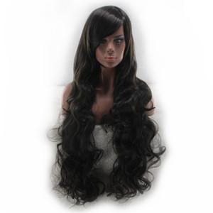WoodFestival косой челки длинный черный парик вьющиеся синтетические волосы парик для женщин теплостойкие волокна парик можно покрасить волосы 80 см