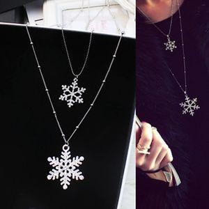 Зима свитер ожерелье снежинка двойной слой кубического циркония длинная цепь ожерелье для женщин