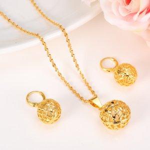 Hollow Yuvarlak Top Kolye Kolye zinciri Küpe setleri Takı 24 K Katı Ince Altın GF Boncuk Kolye kadınlar için setleri