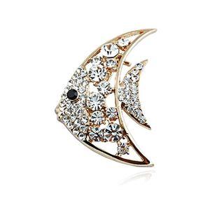 Nova Adorável Goldfish animal Broches cristal Rhinestone Moda Broches pinos para Coats Acessórios de ouro 18K Jóias Atacado