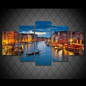 5 Panel HD Printed Canvas Art Paintings Venice Water City Boat Light Room Decor Canvas Wall Art Posters And Prints Wall Art Painting