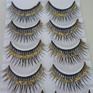 Pestañas falsas de color grueso Pestañas Exageradas Lentejuelas de oro Pestañas Artes Maquillaje de escenario Lentejuelas de la sección transversal False Eyelashe