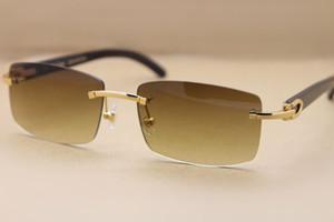 유명한 브랜드 디자이너 Sunglassses 정품 천연 블랙 버팔로 경적 안경 림없는 선글라스 3524012 남성 여성용 원래 상자