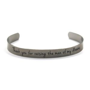 6pcs Merci d'avoir élevé l'homme de mes rêves ton argent manchette Bracelet bracelets Fairy Tale Fairy Princess inspiré bracelets
