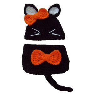 Новинка новорожденный Хэллоуин костюм, ручной вязать крючком девочка черный оранжевый страшно кот шляпа и пеленки обложка набор, младенческой фото опора
