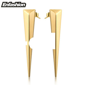 Enfashion Punk Triangle Lange Ohrring Ohrstecker Rose Gold farbe Baumeln Ohrringe Edelstahl Ohrringe Für Frauen Schmuck