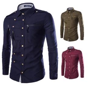 Plus Zipper Shirt Men 2018 Bouton Color Design solides manches longues Baissez Mens Shirt Casual Livraison gratuite Hot Sale boutonnage simple
