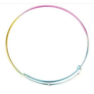 Sıcak WholesaleHigh kalite Yeni Moda renkli gökkuşağı Takı Genişletilebilir Bilezik Ücretsiz nakliye Için Kablolama Bilezik Hediye