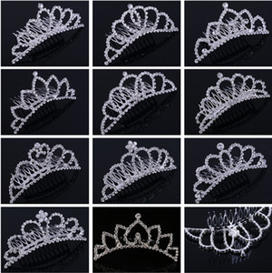 Brillante Rhinestone Crown Girls 'Novia Tiaras Fashion Crowns Pein Pein Combs Bridal Purpieces Accesorios Partido Pelo Joyería para eventos de boda